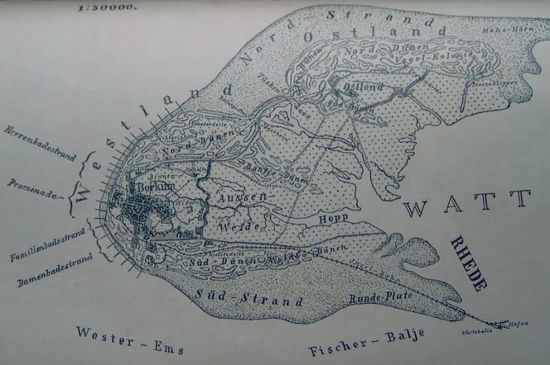 Borkum Karte Strassen.Die Zeitlich Verschiedenen Inselplaen Der Insel Borkum
